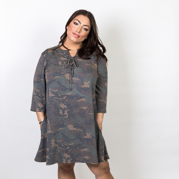 Plus Size Camo Lace Up Front Swing Dress Boutique